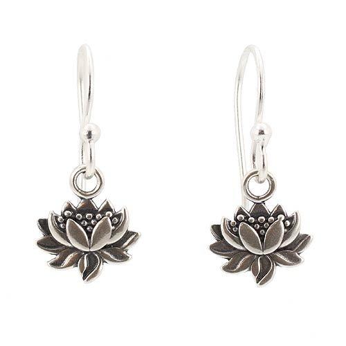 Small Detailed Lotus Blossom Flower Dangle Earrings in Sterling Silver, #7435