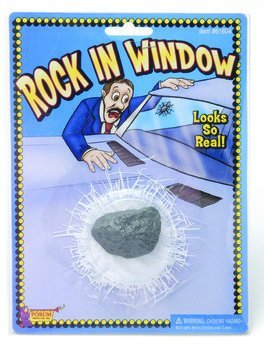 Rock In Window Joke Novelty Item