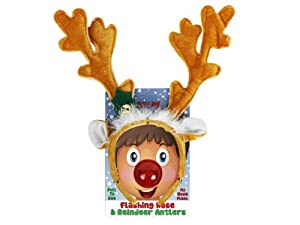 Reindeer Antlers and Light-up Blinking Flashing Nose Set - One Size Fits All This Christmas Holiday