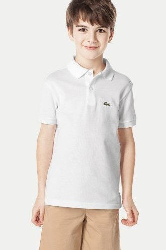 Lacoste Boy's Original Fit Short Sleeve Classic Pique Polo – White L.12.12