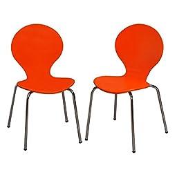 Modern Children\'s 2 Chair Set with Chrome Legs Orange