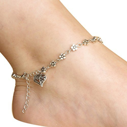 Meily® Girls Handmade Vintage Heart Chain Anklet Foot Leg Chain Bracelet Jewelry