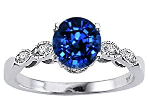 Tommaso Design Round 7mm Created Sapphire Engagement Ring in 14 kt White Gold Size 7