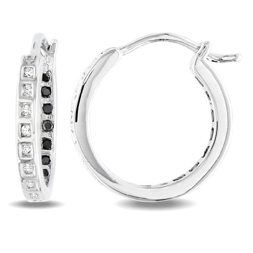 Sterling Silver 1/4 CT TDW Black and White Diamond Stud Earrings (H-I, I3)