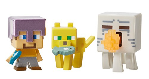 Minecraft-Mini-Figure-3-Pack-Attacking-Ghast-Ocelot-with-Fish-Steve-with-Mismatch-Armor