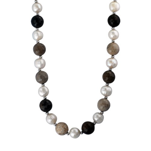 12-12.5mm Faceted Multicolor Chalcedony and 10-10.5mm Freshwater Cultured White Pearl Necklace Accented with Sterling Silver Beads and Clasp, 18