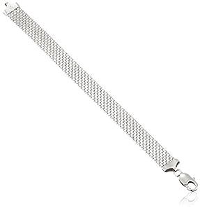 "Sterling Silver 12mm Italian Mesh Bracelet, 7.5"""