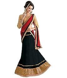 Livaaz Womens Net Lace Lehenga Choli (Sf100480 _Black & Golden _)