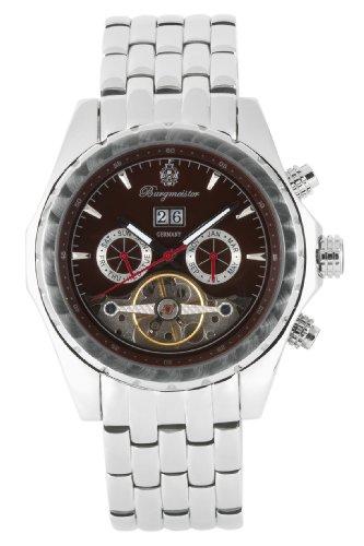 Burgmeister Valencia Bm137-191B Gents Automatic Analogue Wristwatch Stainless Steel Bracelet Brown Dial Visible Balance-Wheel Date Day Month
