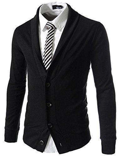 (GD132) TheLees Mens Slim Fit Urbane Design Collar Point Button Cardigan Sweater