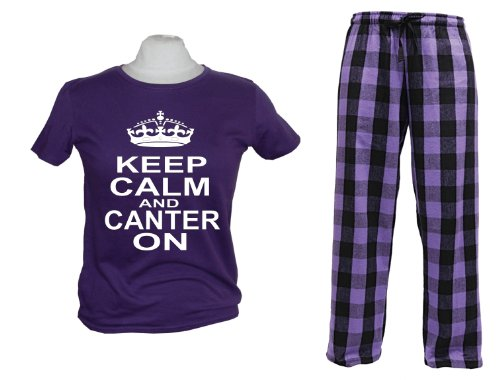 Purple and black pyjama top and pant set 'Keep Calm and Canter On'