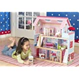 KidKraft Chelsea Wooden Dollhouse Pretend Play Cottage with Furniture | 65054 (Color: pink)