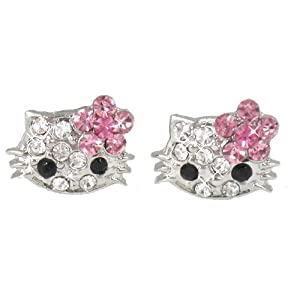 "X-small 1/4"" Kitty Stud Earrings w/ Pink Flower Bow - Silver Plated"