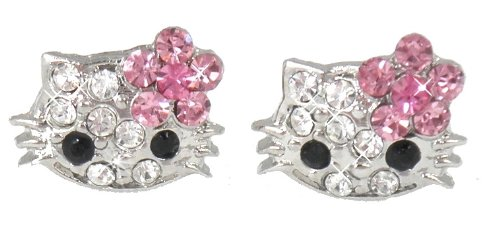 "Adorable X-small 1/4"" Kitty Stud Earrings w/ Pink Flower Bow - Silver Plated - Comes Gift Boxed"
