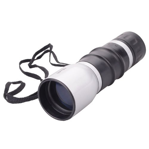 Compact 16X40 Zoom Adjustable Monocular Telescope With Strap For Outdoor Sports Travel - Silvery + Black