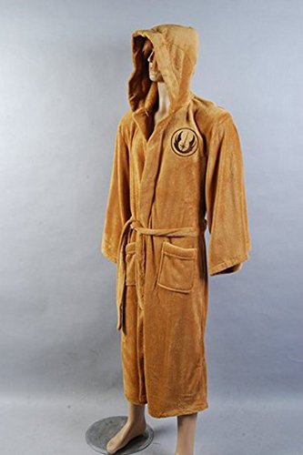 Star Wars Jedi Hooded Bath Unisex Robe - Size Large Brown Large