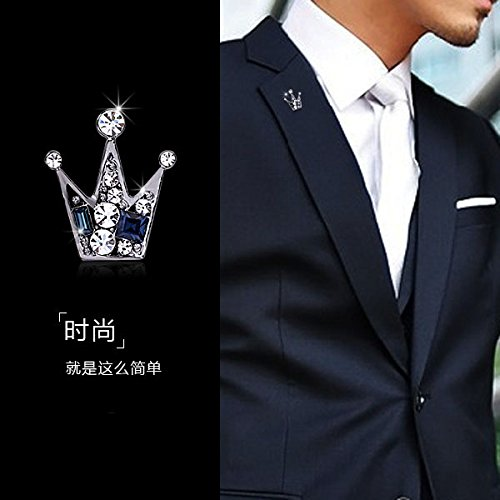d Korean small crown brooch pin man shirt collar button collar crystal brooch pin badge medal fashion suit collar flower