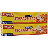 2 Pack Propack Storage Bags, Original Twist-tie, Gallon Size 100 Bags (Total of 200)