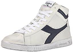 Diadora Men\'s Game L High Waxed Court Shoe, White/Blue Caspian Sea, 9 M US