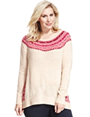 Plus Fair Isle Longline Jumper with Wool