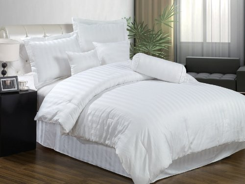 Chezmoi Collection 7 Pieces White Cotton Jacquard Damask Stripe Comforter/ Bed In A Bag Set Queen Size Bedding Review