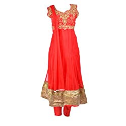 Noore Nazar Glitzy Tomato Red Half sleeve nazneen Hand Work Anarkali Dress