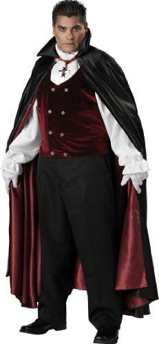 InCharacter Costumes, LLC Men's Gothic Vampire Costume, Black/Burgundy, XX-Large