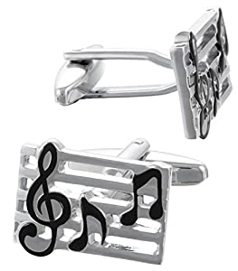 Code Red Base Metal Rhodium Plated With Black Enamel Cufflinks