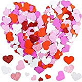 600 Pcs 3 Sizes 4 Colors Assorted Heart Stickers Self Adhesive Foam Hearts Valentine Heart Shaped Decals in Glitter and Matte Red Pink White Light Pink for Valentine's Day Crafts Décor (Color: Pink)