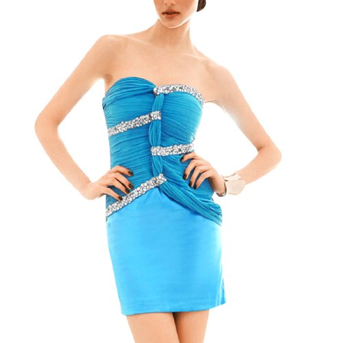 Allegra K Ladies Faceted Crystal Decor Sleeveless Slim Fitted Summer Mini Dress Blue XS