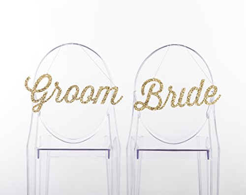 Kate Aspen Gold Glitter Bride and Groom Chair Signs