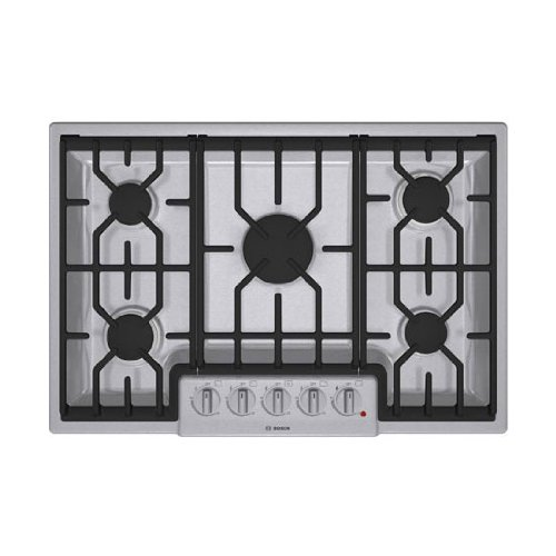 Bosch 800 Series : NGM8054UC 30 5 Burner Gas Cooktop – Stainless Steel  ->  Overall Dimensions Width :  31″ Depth :  21 1/4″ H