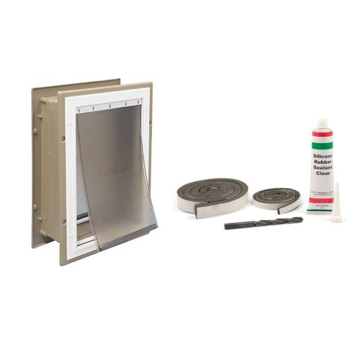 PetSafe Wall Entry Aluminum Pet Door with Telescoping Tunnel, Taupe and White, Large and PetSafe Universal Pet Door Installation and Weather Proofing Kit Bundle (Wall Entry Pet Door Extra Large compare prices)