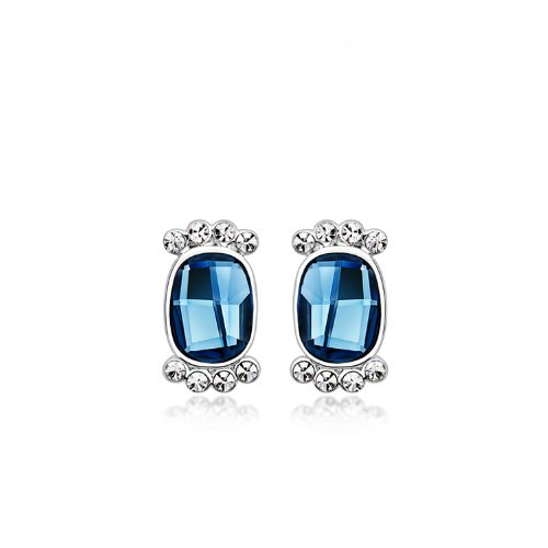 Beautiful earrings for women with aquamarine gemstone set in silver plated setting with real swarovski crystal stones-14 MM long-Extremely complimentary-E0189