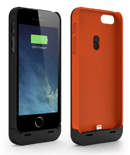Jackery Leaf Premium iPhone 5S, 5 Battery Case Charger; 2 Protection Cases (Black & Orange) + 1 Snap-on Rechargeable External Battery + 1 Audio Extension Cable; Apple MFI Certified