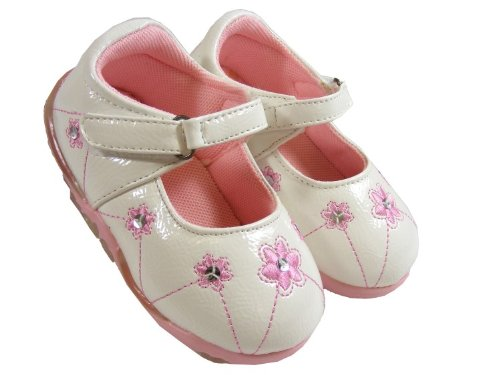 New Baby Girls Kids White Pink Velcro Flats Shoes Party Wedding Shoe Size Sz 5 7