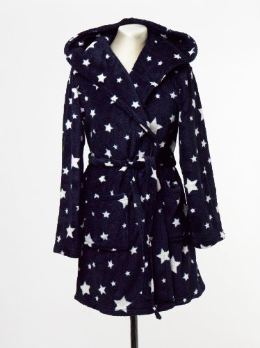 Ladies La Senza Robe Large Hooded Dressing Gown Knee Length Navy White Stars New