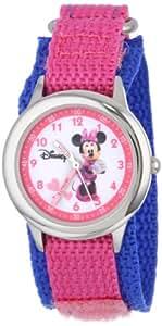 Disney By Ewatchfactory Kids Minnie Mouse Quartz Watch with White Dial Time Teacher Display and Pink Nylon Strap W000034