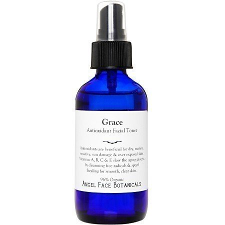 Grace Antioxidant Organic Facial Toner - Speeds Cellular Renewal For Smooth Clear Skin - All Skin Types - 2 oz Mist Sprayer - By Angel Face Botanicals