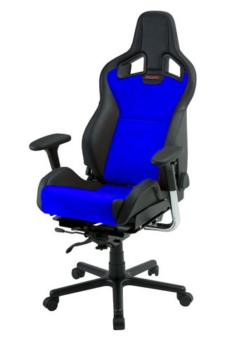 Recaro Sportster Cs Office Chair: Vinyl And Suede With Premium Wheels - Vinyl Black Bolsters, Suede Blue Inserts front-829616