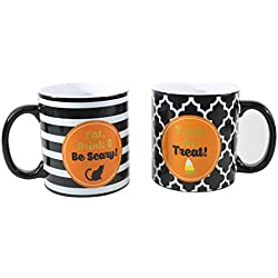 TMD Holdings Halloween Theme Ceramic Coffee Mugs Trick or Treat Eat, Drink, Be Scary (2 Pack), 18 fl. oz., Orange
