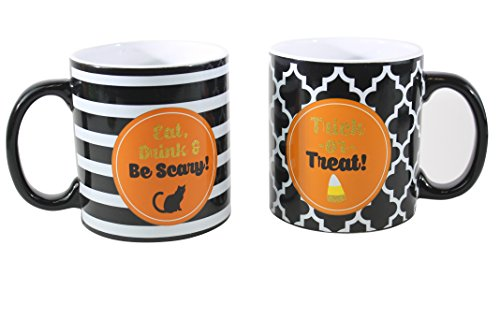 TMD Holdings Halloween Theme Ceramic Coffee Mugs Trick or Treat Eat, Drink, Be Scary (2 Pack), 18 fl. oz., (Scary Halloween Coffee Mugs)
