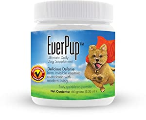 Everpup Ultimate Daily Dog Supplement with Glucosamine, Prebiotics, Probiotics, Apoptogens, Vitamins and Minerals for Healthy Joints, Immunity, Digestion, Skin Health & Defense From Invisible Enemies Associated with Modern Living by Functional Nutriments