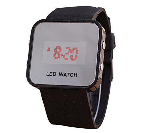 Hosaire 1X Orologio Digitale da Polso Led Rosso Unisex Wrist Watch Display Numeri Grandi Ideale anche per Anziani e Bambini,Cinturino nero