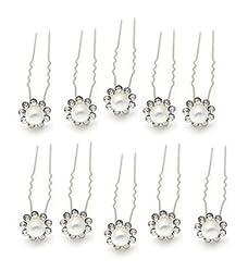 Sorella'z Wedding Bridal Pearl Flower Crystal Rhinestone Hair Pins Set of Ten Pins for Women/Girls