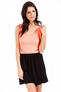 Honey Punch Two Toned Open Hip Dress in Hot Orange and Black