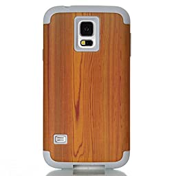 JNTworld Shockproof Hybrid Protective Hard Case for Samsung Galaxy S5 Wood Simulation Pattern Cover , Gray