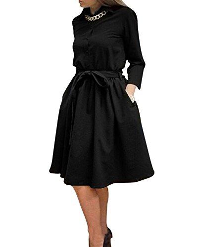 saideng-donna-colori-solidi-manica-lunga-vestito-slim-fit-con-cintura-nero-xl