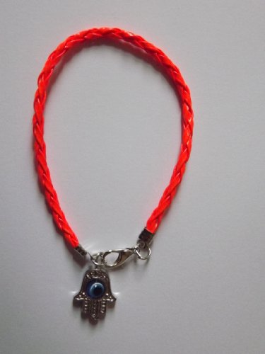 Neon Orange Leather Hamsa Friendship Bracelet Kabbalah