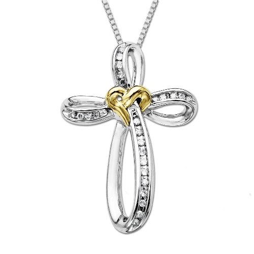 XPY Sterling Silver and 14k Yellow Gold Diamond Love Knot Cross Pendant Necklace (.10cttw, I-J Color, I2-I3 Clarity), 18